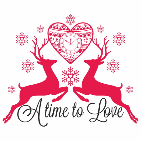 new year's cap: Deers. A time to love. Illustration