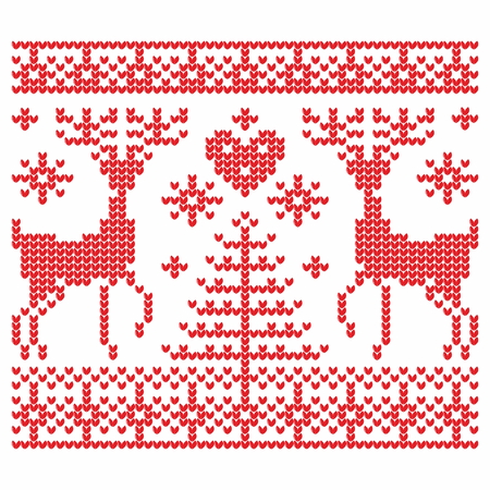 knit: Knitting. Christmas vector background. Deers, snow, hearts, love, pattern.