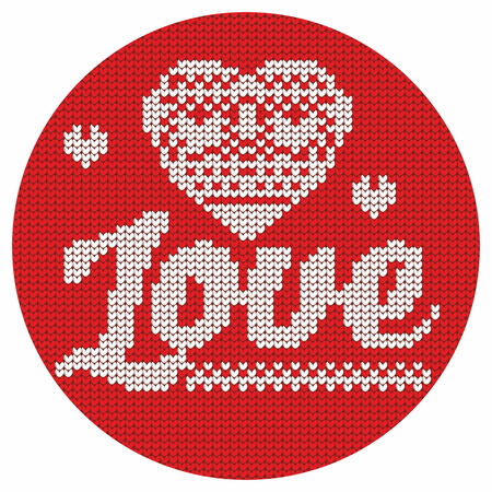 decorative design: Knitting. Christmas vector background. Love. Illustration