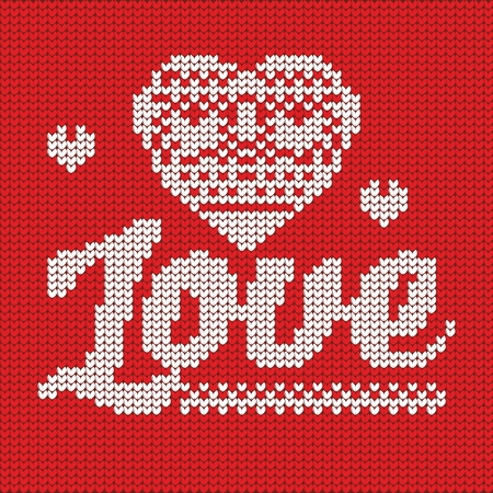 knit: Knitting. Christmas vector background. Love. Illustration