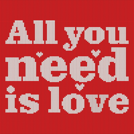knit: Knitting. Christmas vector background. All you need is love