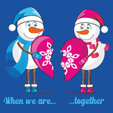 bristles: Lovers snowmen Illustration
