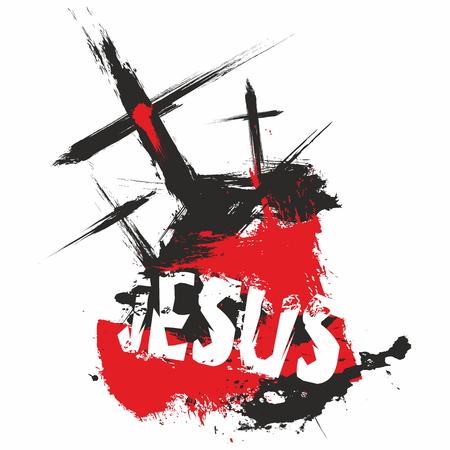 Three crosses. Jesus Illustration.