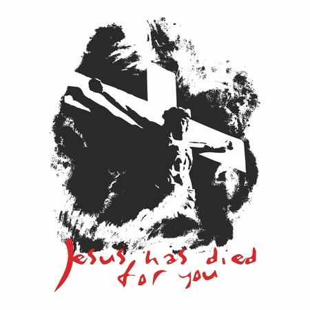 jesus on cross: Jesús ha muerto por ti ilustración