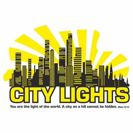 city lights: city lights. Night city. Bible text.