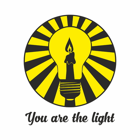 bible light: Candle inside the lamp. You are the light. Bible text.