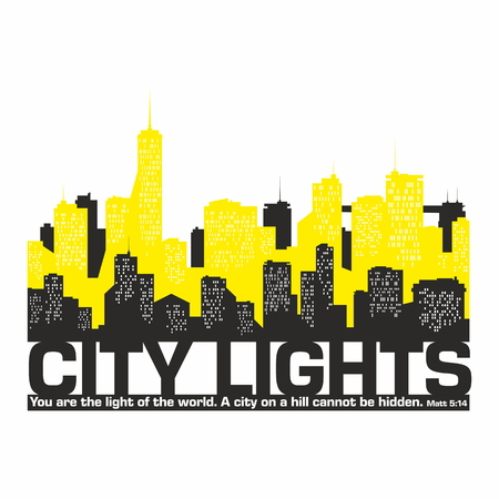 city at night: city lights. Night city. Bible text.