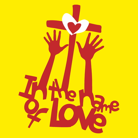 jesus in heaven: In the name of love. Hands, worship, cross, heart of Jesus illustration Illustration