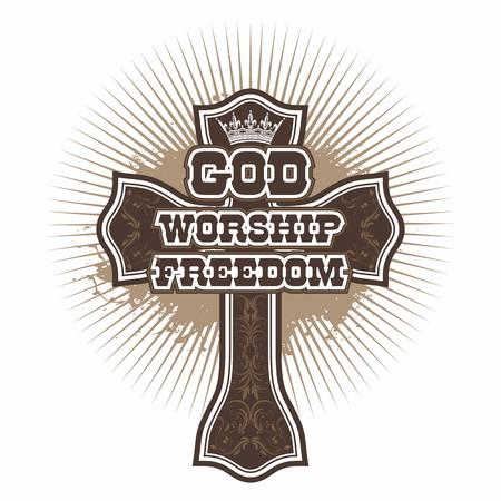 worship god: Christian cross. God, Worship, Freedom. Illustration