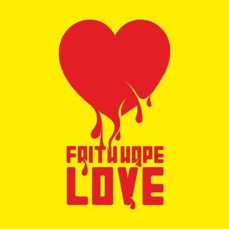 evangelism: Faith Hope Love. Heart illustration