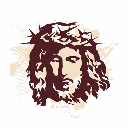 jesus face: Face of Jesus. Hand drawn art.