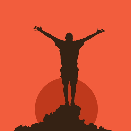 church worship: Silhouette of a man at sunset Illustration