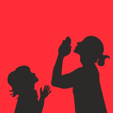 niño orando: Siluetas de la madre y del niño con las manos en oración