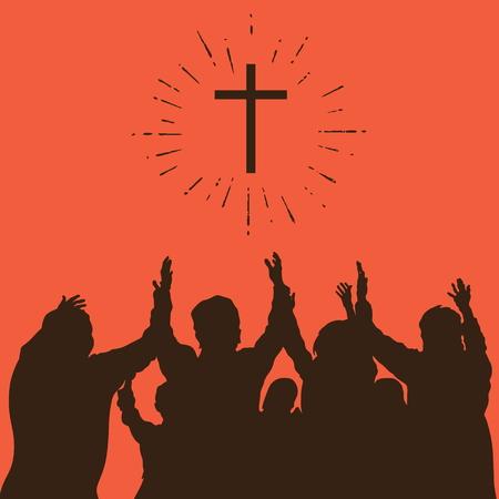 Group worship, raised hands, cross, worship, silhouettes, praise