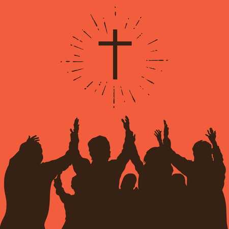 worship praise: Group worship, raised hands, cross, worship, silhouettes, praise