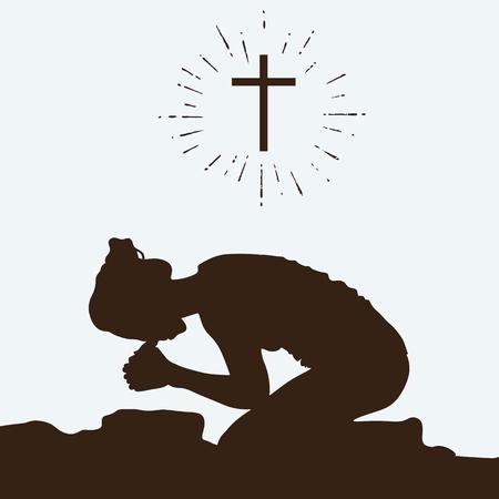 Silhouet van een vrouw knielen in gebed