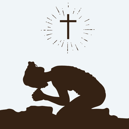 cocain: Silhouette of a woman kneeling in prayer