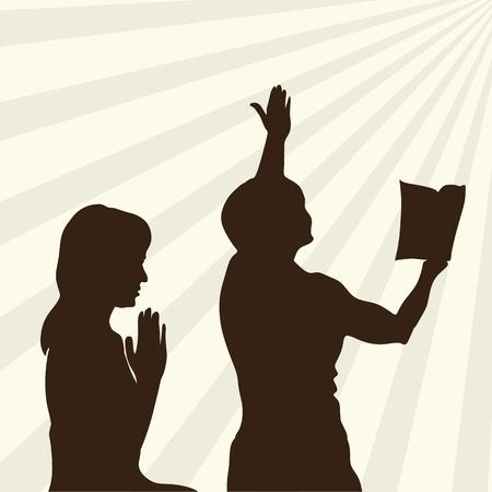 Silhouet van lofprijs en aanbidding aan God Vector Illustratie