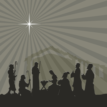 jesus in heaven: Nativity scene. Merry christmas Illustration