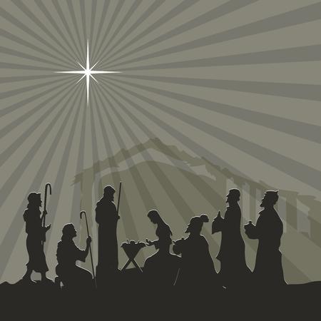 scene: Nativity scene. Merry christmas Illustration