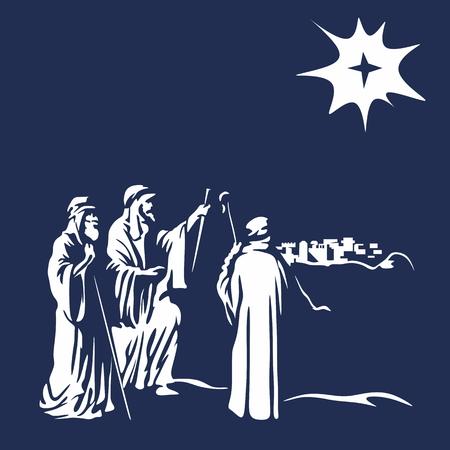 Shepherds and the star of Bethlehem Ilustracja