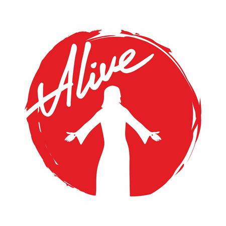 cielo: Alive, Jesús, silueta, palabras, escritura, letras, Pascua