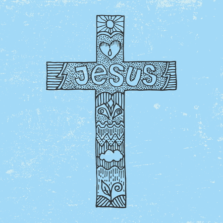 pray: Word Jesus on a cross Çizim