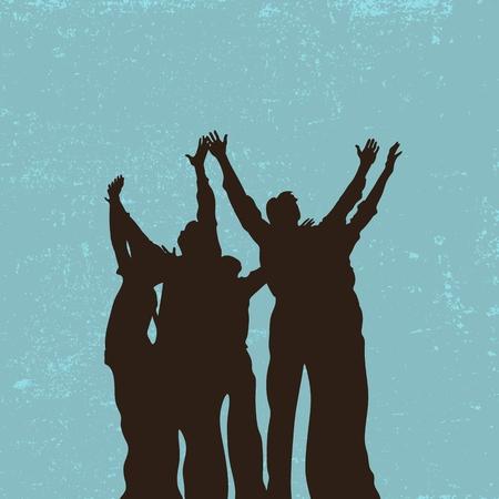 alabanza: Grupo de oración, las manos levantadas, alabanza, adoración, siluetas, las personas Vectores