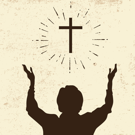 church worship: Raised hands in worship Illustration