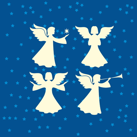 jesus in heaven: Angel silhouettes. Merry christmas Illustration