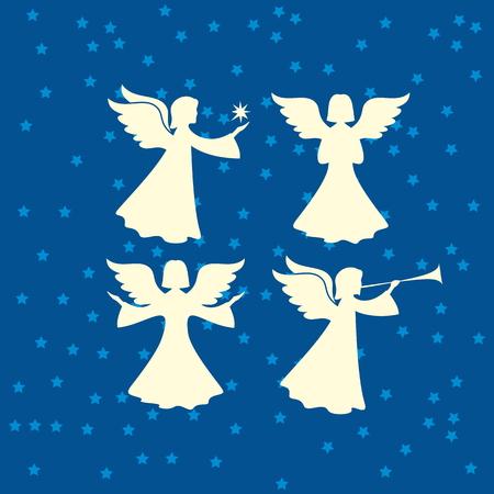 jezus: Anioł sylwetki. Wesołych Świąt Ilustracja