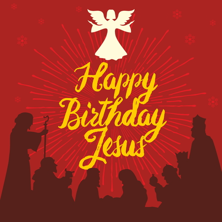 Happy Birthday Jesus. Merry christmas Stock Illustratie
