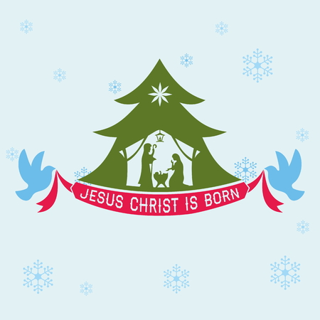 christ: Merry Christmas. Jesus Christ is born Illustration