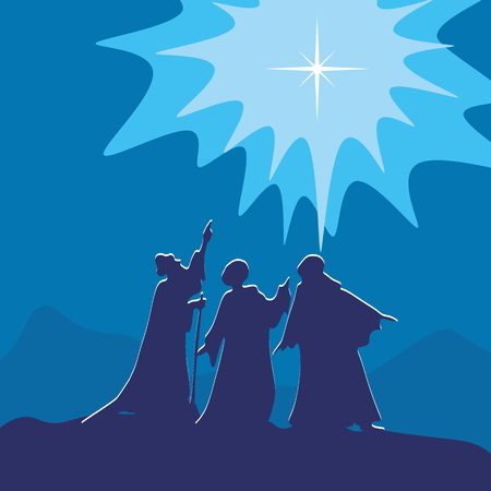 wisemen: Wisemen pointing to the star of Bethlehem Illustration
