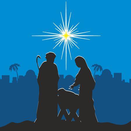 evangelism: Nativity scene. Merry christmas Illustration