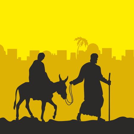 Mary on a donkey and Joseph