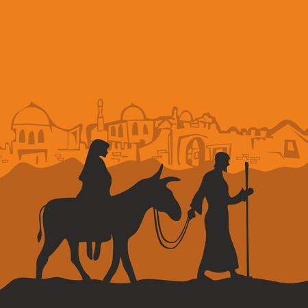 burro: María en un burro y José