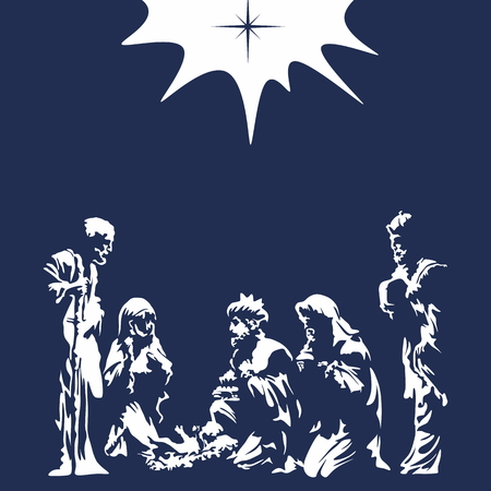 scene: Nativity scene. Merry christmas Illustration