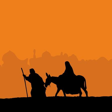 Joseph leading Mary on a donkey Vectores