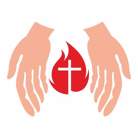 kindling: Hands kindling a flame Illustration