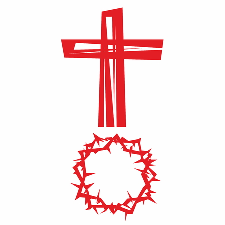crown of thorns: Cross and crown of thorns Illustration