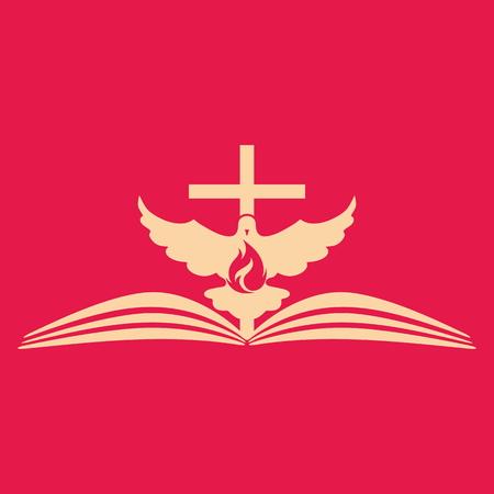 open flame: Church logo. Cross, open bible, dove and flame