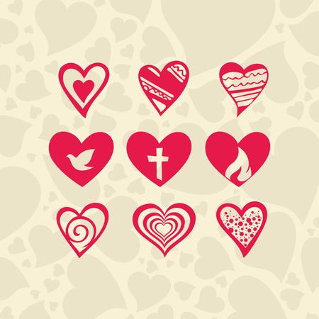 religious icon: Set of heart icons Illustration