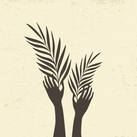 Raised hands and palm fronds