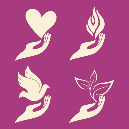 Hand and dove, hand and plant, hand and flame, hand and fire, hand and sprout, new life, hand and heart, love, hear, flame, fire, dove, bird