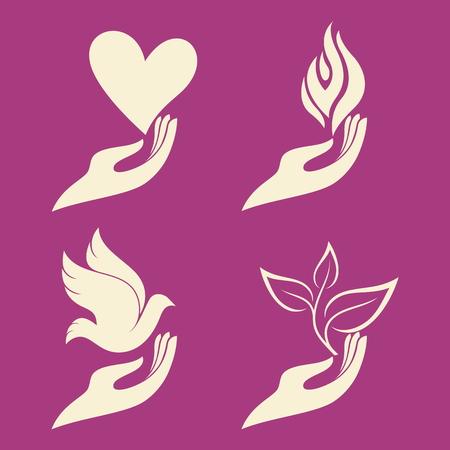 dove: Mano y la paloma, la mano y la planta, la mano y la llama, la mano y el fuego, la mano y brote, una nueva vida, la mano y el corazón, el amor, oiga, llama, fuego, paloma, pájaro