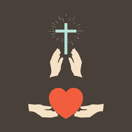 religion catolica: Las manos y el corazón, las manos y cruz Vectores