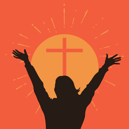 religion catolica: Silhouette of a woman with raised hands in front of a cross