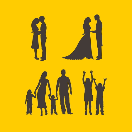 son of man: Couples, bride, groom, man, woman, family, silhouettes, mother, father, daughter, son, raised hands, boy, girl, love, parenting, romance, icons Illustration
