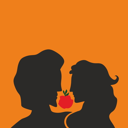 adam and eve: Adam and Eve. Silhouette, hand drawn